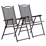 Giantex Set of 2 Folding Sling Back Chairs Indoor Outdoor Camping Chairs Garden Patio Pool Beach Yard Recliners Lounge Chairs w/Armrest (Gray)