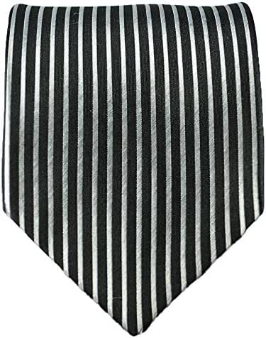 Paul Malone Striped Necktie 100% Silk Black and White