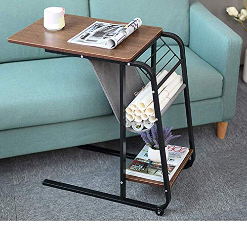 - Qwork Side Table End Table C Table Computer Laptop Workstation Coffee Tray Overbed Table with Storage Basket Mobile Wheel for Small Spaces, Sofa, Couch, Bedside, Original Oak