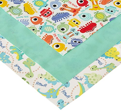 (Babyville Boutique 35025 PUL Fabric, Dinos & Monsters, 21 x 24-Inch (3-Count))