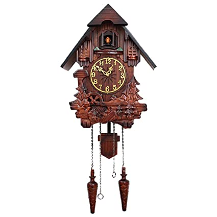 WTY Reloj Cucú De Madera Tallada A Mano Reloj De Péndulo De Cuco Reloj De Pared