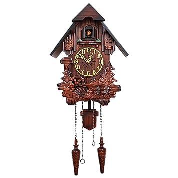 WTY Reloj Cucú De Madera Tallada A Mano Reloj De Péndulo De Cuco Reloj De Pared,A: Amazon.es: Hogar