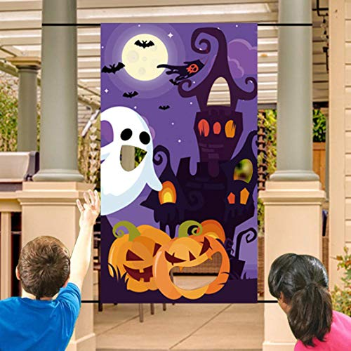 Family Friendly Halloween Party Themes (Halloween Bean Bag Toss Games+3 Bean Bags for Kids/Childrens/Family Party, Halloween Night Theme Indoor/Outdoor Parties Supplies Decoration Pumpkin Castle Ghost Bat Moon Toss Game Banner for)