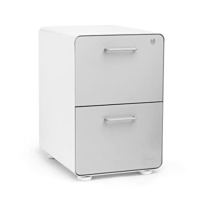 Merveilleux Poppin White + Light Gray Stow 2 Drawer File Cabinet, Metal, Legal/
