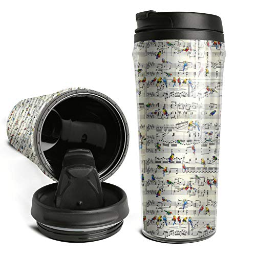 DXYI Yxyx Travel Mug 17 Oz Vintage Sheet Music Birds Coffee Cup with Sealed Lid Vacuum Insulated Tumbler Bottles