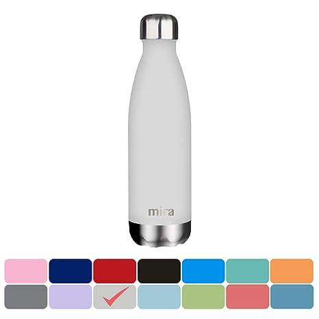 Botella de Agua de Acero Inoxidable con Aislante de MIRA, de 750 ml, 25 onzas, con Forma de Cola, Gris