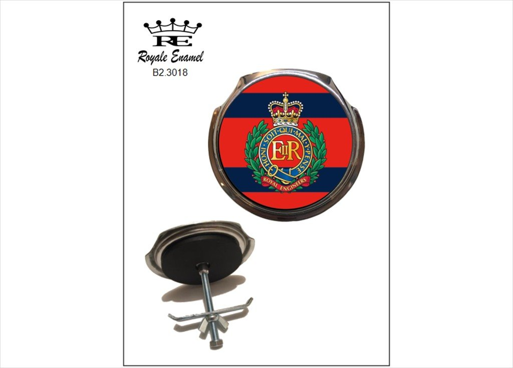 ROYALE ENAMEL ROYALE CAR GRILL BADGE 3018 CORPS OF ROYAL ENGINEERS B2