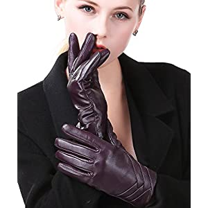 "Harrms Best Luxury Touchscreen Italian Nappa Genuine Leather Gloves for women's Texting Driving Cashmere Lining (M-6.8""(US Standard Size), PURPLE(CASHMERE LINING ))"