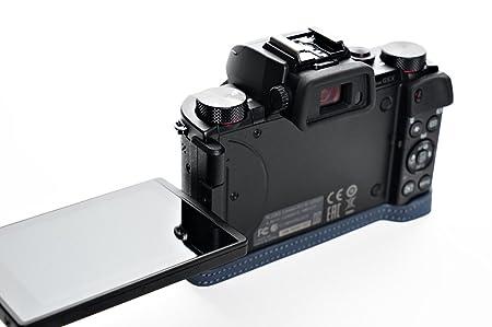 ac4de94b76e3 Amazon   Canon キャノン G5 X用本革カメラケース 別注カラー (カメラケース, ブルー)   カメラバック・ケース 通販