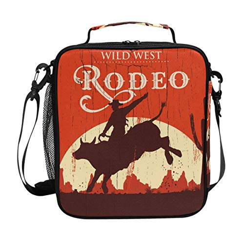 (RODEO Lunch Bag Insulated Lunch Box Cooler Shoulder Strap Meal Prep for Women Men Kid Boy Girl Large Tote Picnic)