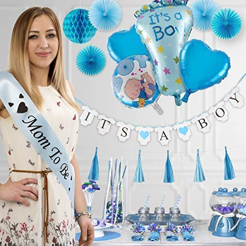 Baby Shower Decorations for Boys, Its a boy All in one Set Party Garland Supplies Kit for Birthday, BabyShower & Party Favors, Incl Banners, Balloons, Paper Fans, Tassels, Greeting Cards, -