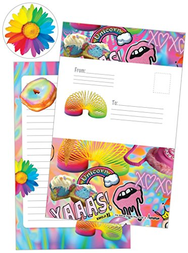 iscream 'Psychedelic Collage' Pack of 8 Fold-over Cards with Flip Sticker Seals - Fold Over Stationery