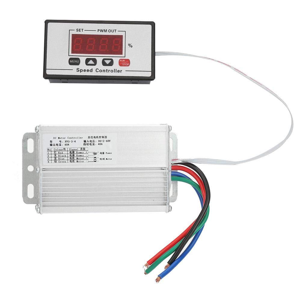 Motor Speed Controller, DC12~60V Digital Display Motor Speed Controller Motor Speed Governor Regulator 40A 60A for DC Brush Motor Speed Adjustment