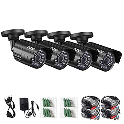 ZOSI 1080P 4 Pack HD-TVI Security Bullet Cameras Outdoor Indoor Weatherproof with 24pcs IR LEDs 65ft Night Vision for 2.0MP Surveillance TVI CCTV System (Renewed) by ZOSI