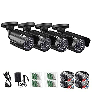 ZOSI 1080P 4 Pack HD-TVI Security Bullet Cameras Outdoor Indoor Weatherproof with 24pcs IR LEDs 65ft Night Vision for 2.0MP Surveillance TVI CCTV System (Renewed)