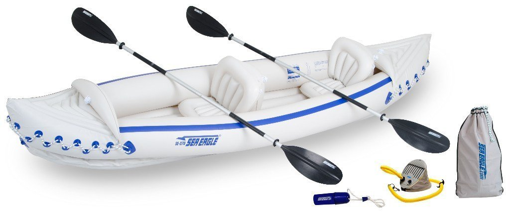Sea Eagle 370 Deluxe 3 Person Inflatable Portable Sport Kayak Canoe w/ Paddles by Sea Eagle