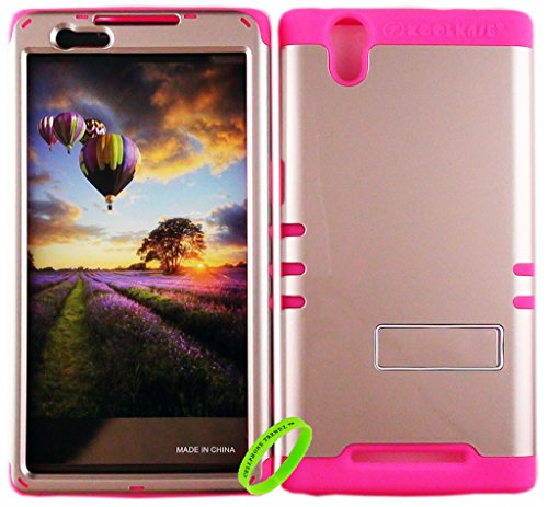 Cellphone Trendz HARD & SOFT RUBBER HYBRID ROCKER HIGH IMPACT PROTECTIVE CASE COVER for ZTE ZMax Z970 (T Mobile, MetroPCS) - Honey Gold Snap Design Hard Case on Pink Silicone