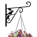 Amagabeli 10'' plant hanger hanging plant hook forged mount against door fence deck garage balcony outdoor lawn cast iron bracket for planter bird feeder lantern wind chime plant pot basket with screw