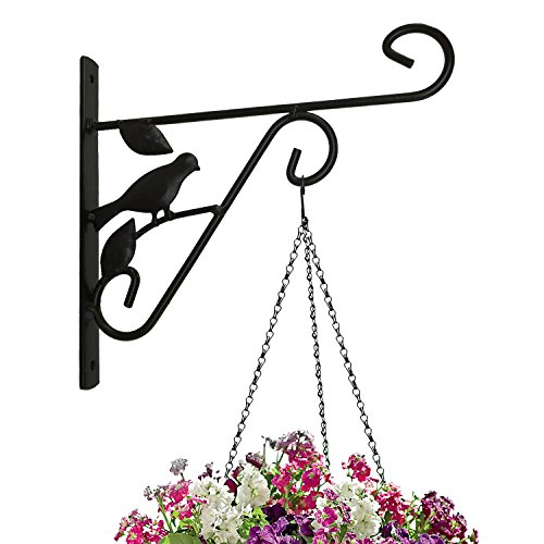 Amagabeli Hanging Plants Bracket 10'' Wall Planter Hook Flower Pot Bird Feeder Wind Chime Lanterns Hanger Outdoor Indoor Patio Lawn Garden for Shelf Shelves Fence Screw Mount against Door Arm Hardware (Brackets Pot Flower)