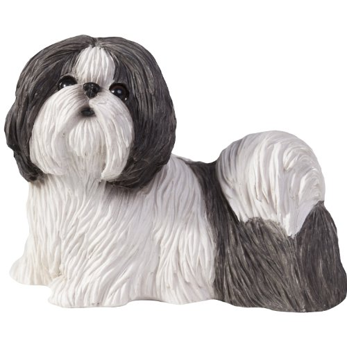 Sandicast Silver and White Shih Tzu Sculpture, Standing, Small Size