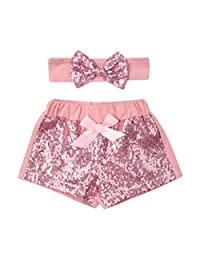 Karuedoo Baby Girls Shorts Toddlers Sequin Shiny Sparkles Short Pants with Bow