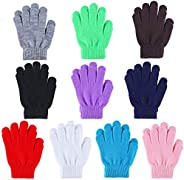Kids Gloves 10 Pairs Kids Warm Magic Gloves Full Fingers Knitted Winter Glove Winter Knit Gloves, 5-12 Years O