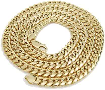 10K Italian Yellow Gold Miami Tight Link Cuban Chain 30 Inches 7.5MM Hollow Lobster Lock Hollow