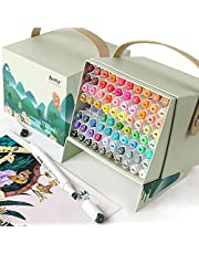 Arrtx ALP 80 Colors Alcohol Art Markers Set, Dual Tips Permanent Artist Alcohol-Based Pen Sketch Markers with Designed Box, Ideal for Adult Kids Coloring, Sketching and Illustration, Card Making