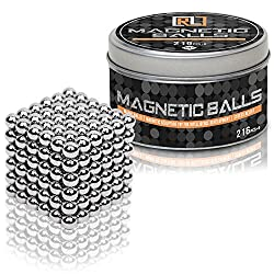 Magnetic Balls 5mm 216 + 6 pcs | Stress Relief Fidget Toys Gift for Men & Women from 16 to 60 | Nice Tin Box | Cool Puzzle Toy Ball for Home and Office Desktop | by R&L
