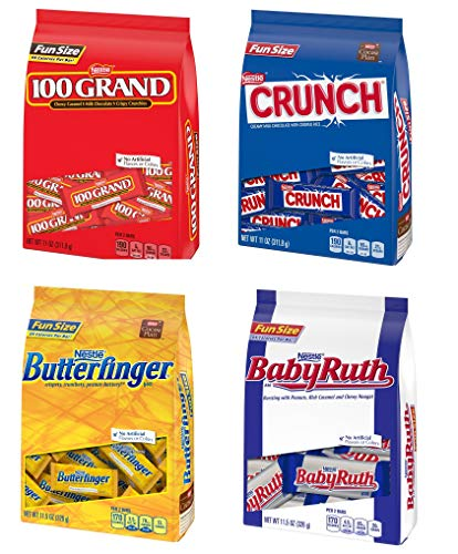 Nestle Chocolate 4 Pack Variety - Butterfinger, 100 Grand, Crunch, & Baby Ruth (11ozper Bag)