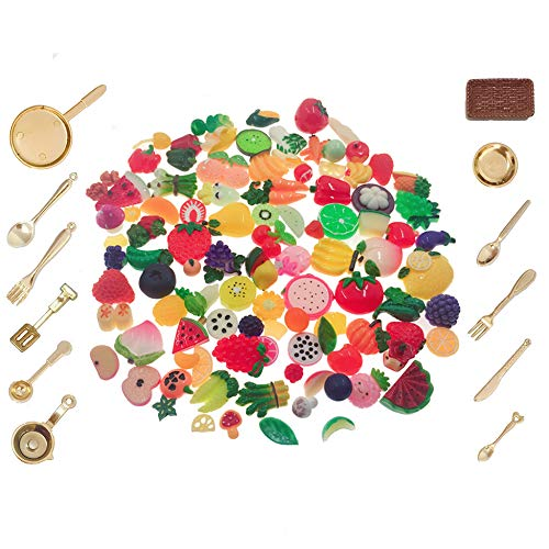 SIX VANKA Miniature Food 112pcs Mixed Resin Fruit & Vegetable Kitchenware Tableware Set for Children Birthday Party Pretend Play Kitchen Toy Doll House DIY Art Decoration Dollhouse Miniatures Miniature Fruit