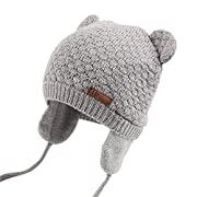 XIAOHAWANG Warm Baby Hat Cute Bear Toddler Earflap Beanie for Fall Winter (2-3Years, Grey)
