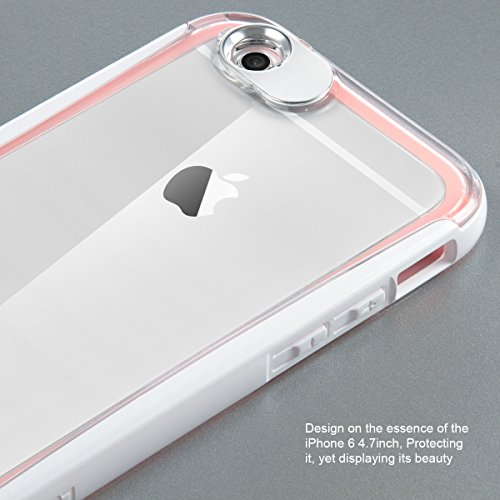 ULAK [LUMENAIR] Slim Hybrid Clear Back Panel + Luminous Bumper Case for  Apple iPhone 6 4 7 Inch with Incoming Call Flash Message Blink Function  (Pink)
