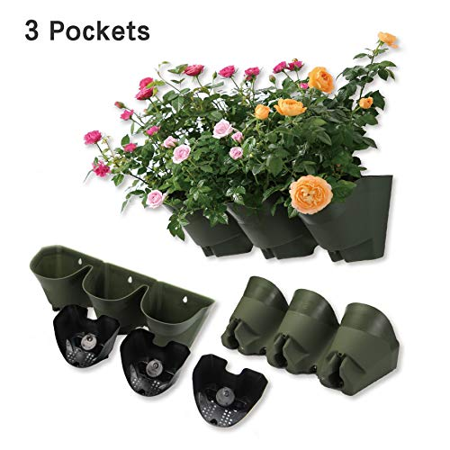 Worth Garden Olive Green SelfWatering 1 Set  3 Pockets Vertical Wall Garden Planters