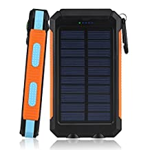 FUSHITON Solar Charger, 20000mAh Portable Dual USB Solar Battery Charger External Battery Pack Phone Charger Power Bank with LED Flashlight for iPhone iPad Samsung HTC Cellphones and More