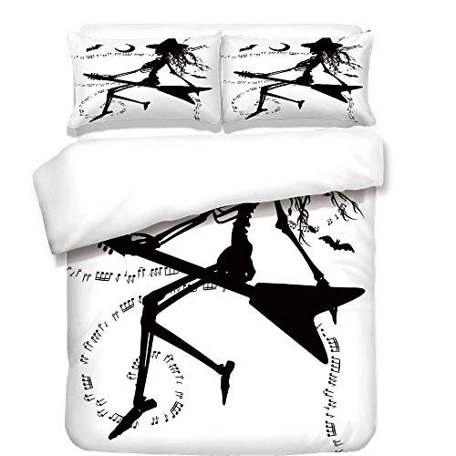Yaoni 3Pcs Duvet Cover Set,Music,Witch Flying on Electric Guitar Notes Bat Magical Halloween Artistic Illustration,Black White,Best Bedding Gifts for Family/Friends