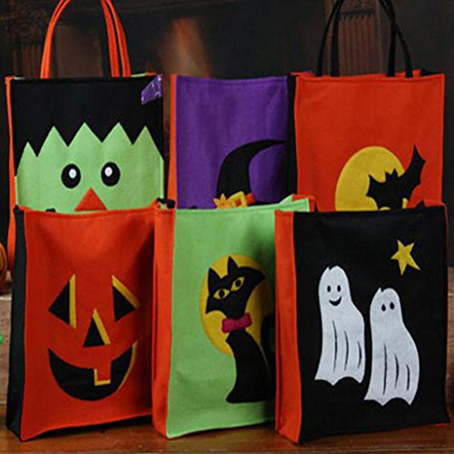 Jili Online Pieces of 6 Non-woven Fabric Mixed Style Halloween Holiday Trick or Treat Loot Tote Bags with Handle Home Party Gift Bags by Jili Online (Image #7)