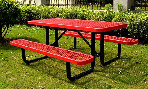 6′ Rectangular Picnic Table, Expanded Metal, Red (72″ Long)
