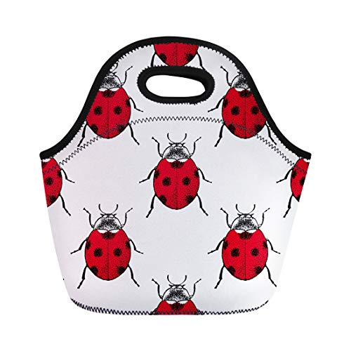 Semtomn Lunch Tote Bag Pattern Red Ladybugs Beetle Vintage Insect Antique Biology Black Reusable Neoprene Insulated Thermal Outdoor Picnic Lunchbox for Men -