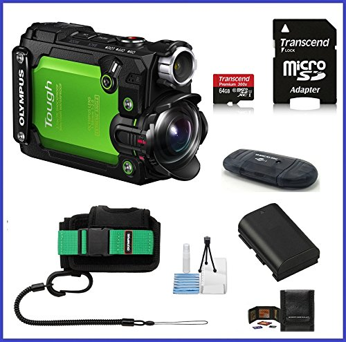 Olympus-Stylus-Tough-TG-Tracker-Action-Camera-Green-Pro-Bundle-Includes-64GB-MicroSDXC-Class-10-Memory-Card-Olympus-Case-Spare-Battery-and-more