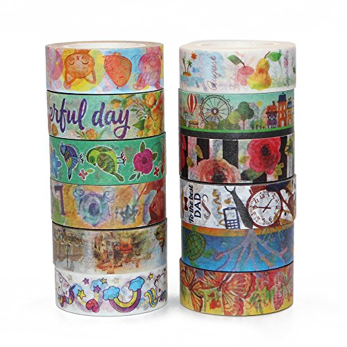 Erlvery DaMain Set of 12 Colored Washi Masking Tape Decorative Tape For DIY Crafts,Scrapbooking Supplies (Polar Scrapbooking Paper)