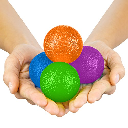 (Vive Hand Exercise Balls - Grip Strengthening Physical, Occupational Therapy Kit - Squishy Stress, PT, Arthritis Pain Relief Workout Set - Fidget Finger Muscle Squeeze Resistance Strength Egg Trainers)