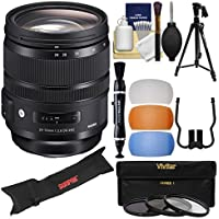 Sigma 24-70mm f/2.8 ART DG OS HSM Zoom Lens with 3 Filters + Pistol Grip Tripod & Case + Flash Filters + Kit for Nikon Digital SLR Cameras