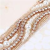 Rose Gold Beaded Crystal Rhinestone Applique 1 Yard of Shinning Dress with Pearls-Bridal Belts-Wedding Sash-1Piece