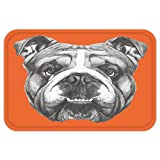 VROSELV Custom Door MatDog Hand Drawn Portrait of English Bulldog Cute Puppy Retro Animal Funny Cool Pet Black White Orange