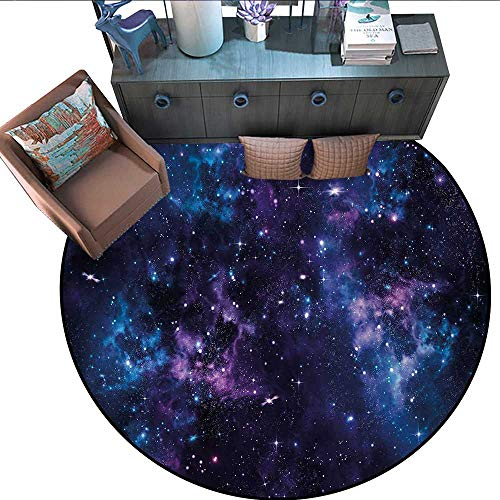 Space Non-Slip Round Rugs Mystical Sky with Star Clusters Cosmos Nebula Celestial Scenery Artwork Living Dinning Room and Bedroom Rugs (71