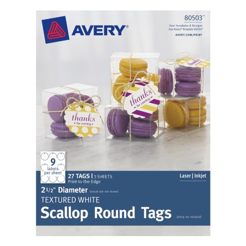 - Avery Textured White Scallop Round Tags, 2.5-Inch Diameter, Pack of 27 (80503)