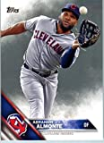 2016 Topps Series 2 #556 Abraham Almonte Cleveland Indians Baseball Card in Protective Screwdown Display Case