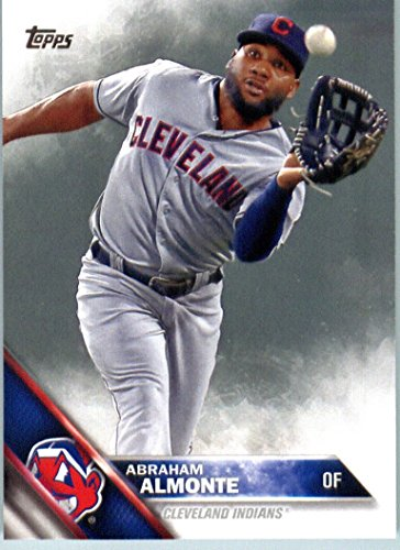 Indians Display Cleveland Baseball (2016 Topps Series 2 #556 Abraham Almonte Cleveland Indians Baseball Card in Protective Screwdown Display Case)