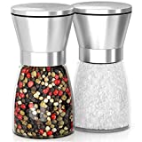 #7: MEGA SALE! TOP QUALITY, EASY TO USE SALT AND PEPPER MILLS! Large Capacity, Stainless Steel Top, Thick Glass Body And adjustable Ceramic Rotor - Premium Pepper Grinder Set Of 2!